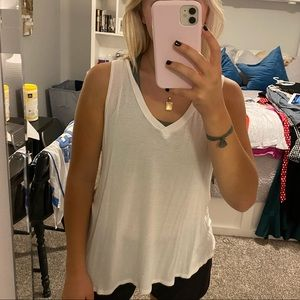 White Sheer Tank with Twisted Back